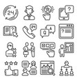support and service icons set on white background vector image vector image