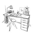table with a computer or workplace drawn by hand vector image vector image