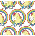 unicorn with rainbow seamless pattern vector image vector image