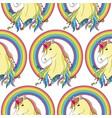 unicorn with rainbow seamless pattern vector image