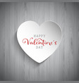 valentines day heart on wood background vector image vector image