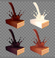 wafer in chocolate splash 3d realistic set vector image vector image