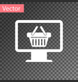 white computer monitor with shopping basket icon vector image vector image