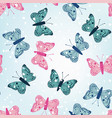 winter butterflies seamless blue background vector image