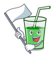 with flag green smoothie mascot cartoon vector image vector image