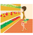 woman in a supermarket vector image vector image