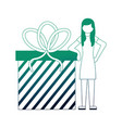 Young woman with gift box present icon