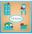 Blue doll furniture four objects vector image