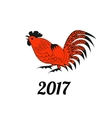 Rooster in red and black colors vector image