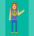 hippie man gesturing peace vector image