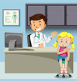 a girl with chickenpox meet doctor vector image
