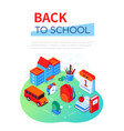 back to school - modern colorful isometric web vector image
