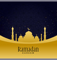 beautiful golden mosque with star background vector image vector image