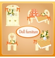 Beige doll furniture four objects vector image vector image