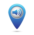 Blue map pointer with speaker volume icon vector image