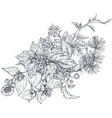 bouquet with hand drawn blossom branches vector image vector image