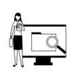 business woman folder vector image