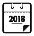 calendar new year icon simple black style vector image