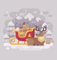 cheerful santa claus reindeer lying down near vector image vector image