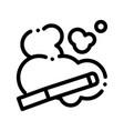 cigarette and smoke steam thin line icon vector image vector image