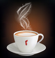 cup of cappuccino with a steam feather vector image vector image