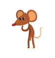cute brown thoughtful mouse standing on two legs vector image vector image