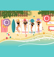 cute girls sunbathing on beach vector image