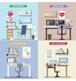 design concept for working places Set of vector image vector image