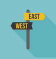 east west road sign vector image