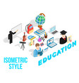 education concept icons set isometric style vector image