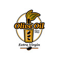 extra virgin olive oil bottle olives icon vector image