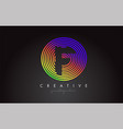 f letter logo design with colorful rainbow vector image vector image