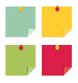 flat design of colorful pinned sticky notes vector image