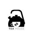 flat kettle with cup and leaf vector image vector image