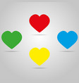 four colored hearts with shadow on a grey color vector image vector image
