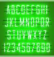 glowing green neon casual script font vector image vector image