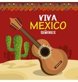 guitar and cactus of mexico icons design vector image vector image