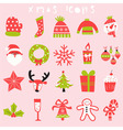 happy christmas icon set vector image
