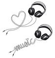 headphone with heart vector image vector image