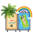hello summer in suitcase vector image vector image