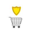 icon concept of shopping cart with guard shield vector image