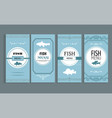 label with fish shape and word fish menu vector image