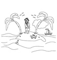 Lonely the man living on a small desert island vector image