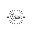love text icon valentines symbol hipster vector image vector image