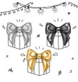 luxury bows set- black silver and gold knots vector image