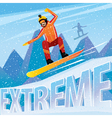 Man jumping from the mountain on a snowboard vector image vector image