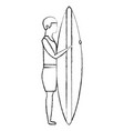 man with surfboard avatar character vector image vector image