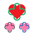 medical logo template heart and cross logotype vector image vector image