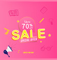 mega sale 70 and special offer banner template vector image vector image