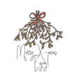 merry christmas linear logo tag emblem or label vector image vector image
